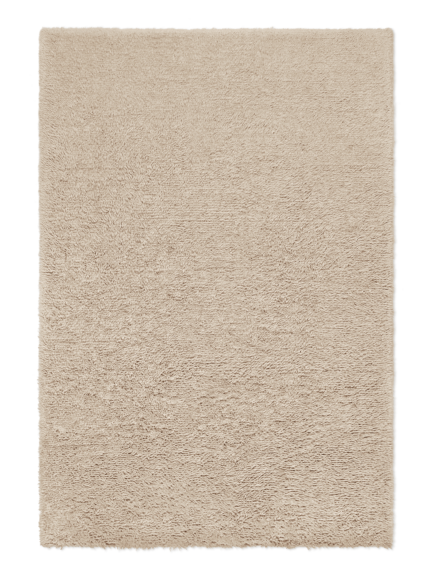 Campaign page. Product image of beige, shaggy wool rug Fields.