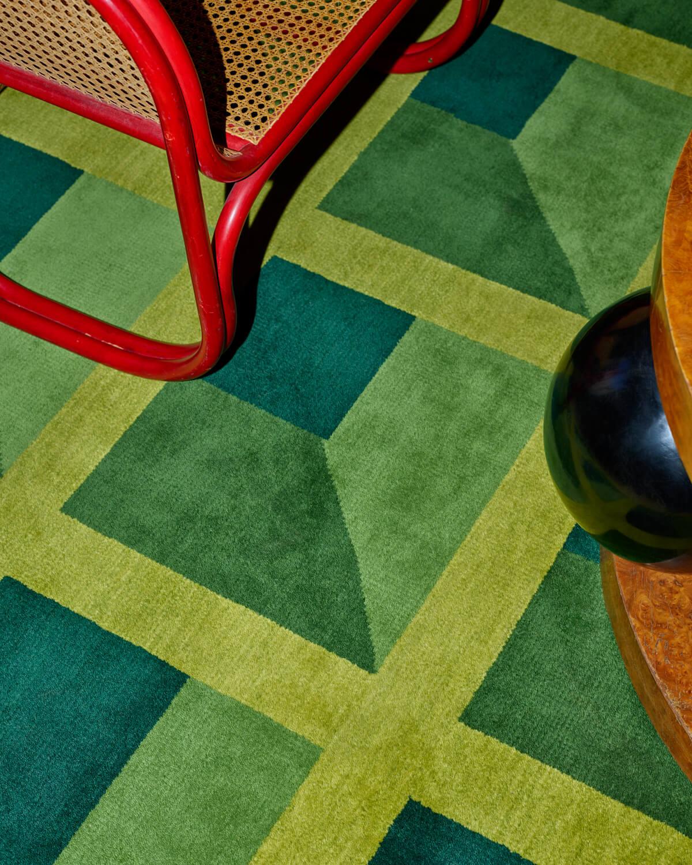 Close up of green rug Garden Maze.