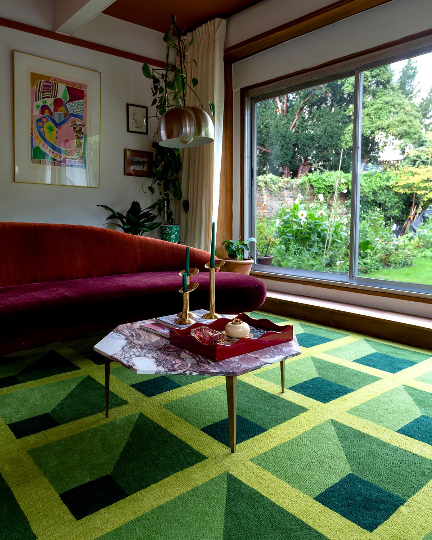 Garden Maze rug in a colorful, lush London home.