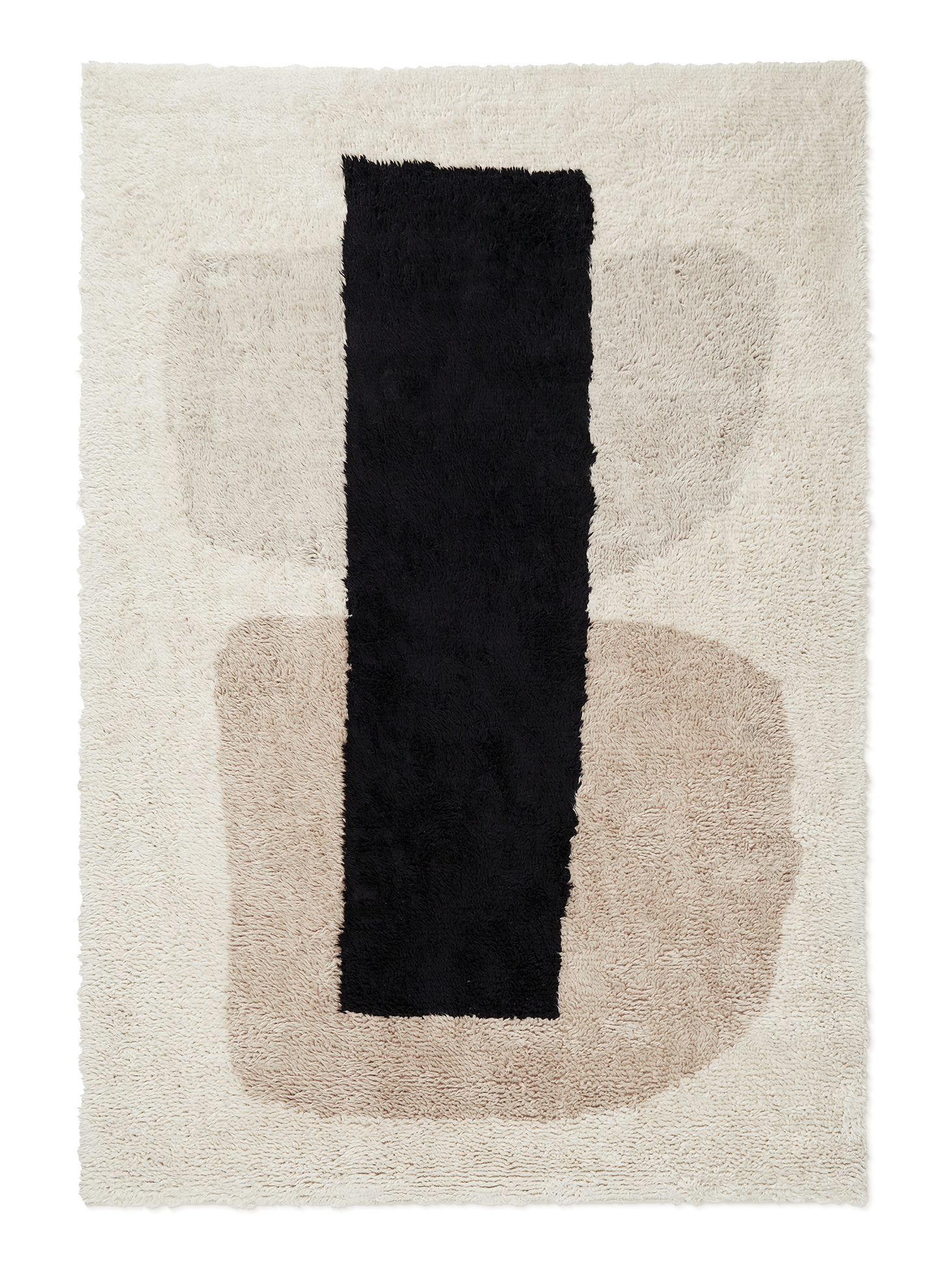 Campaign page. Product image of Monolith 1, a shaggy wool rug with an abstract pattern.