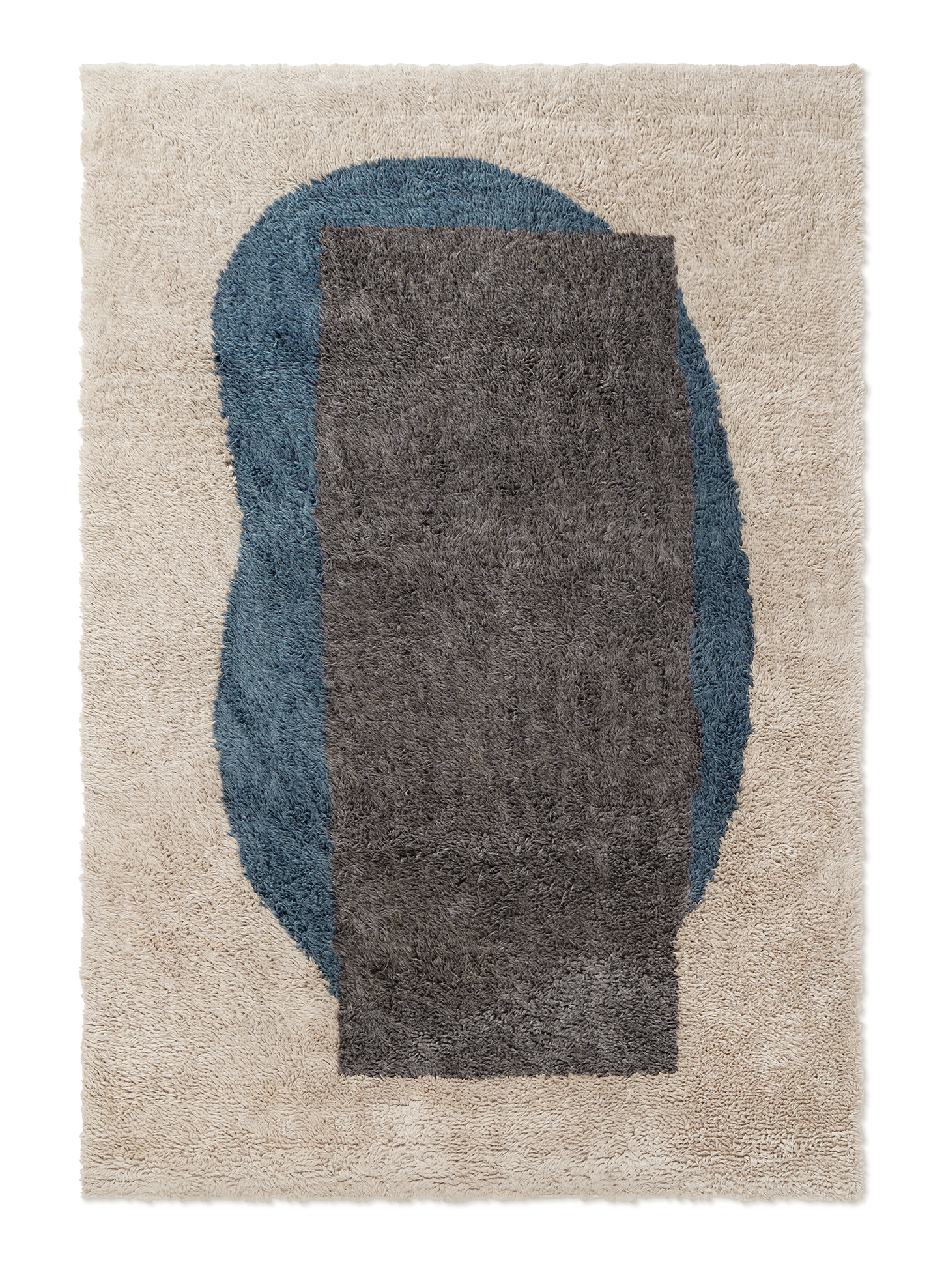 Campaign page. Product image of Monolith 2, a shaggy wool rug with an abstract pattern.
