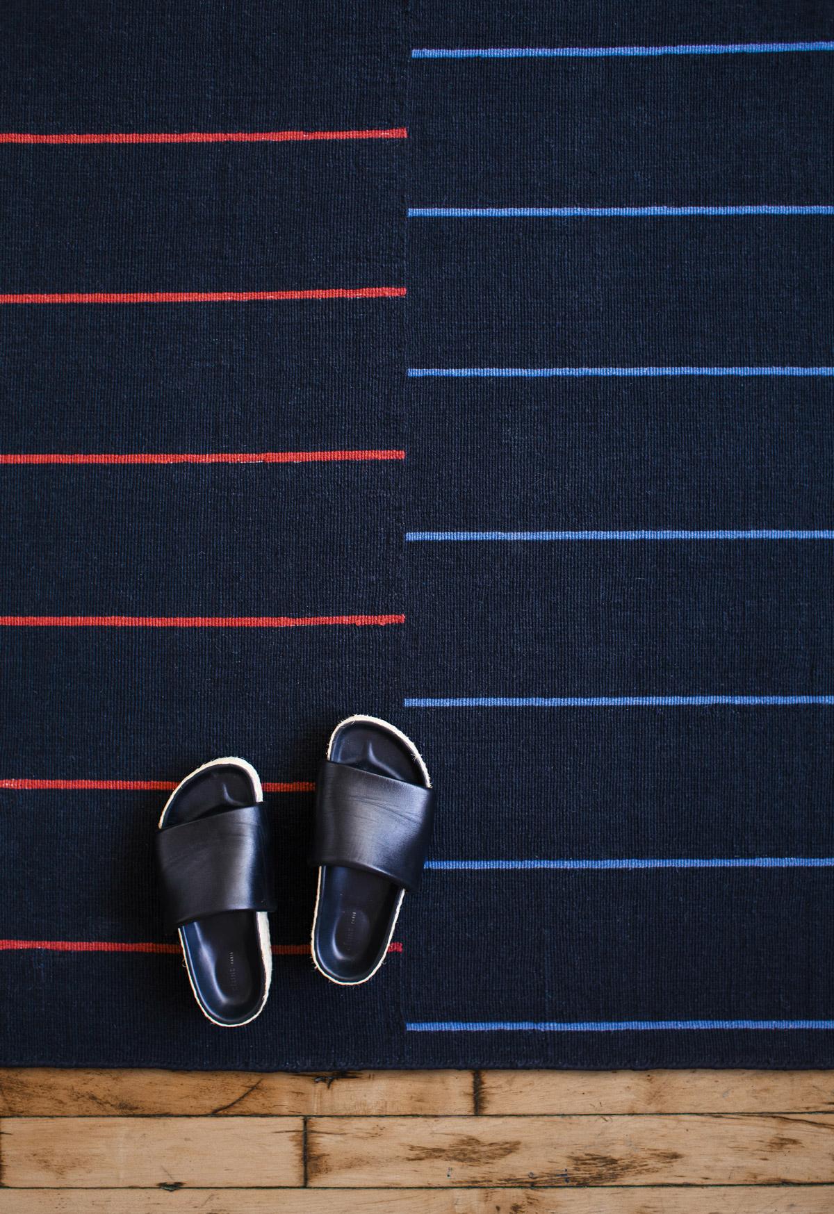 Close of flatweave rug Barger in color Black.