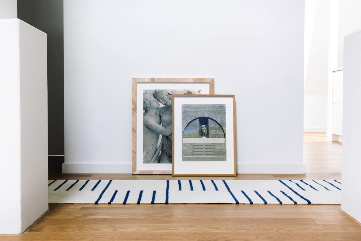 A Classic runner in color Cream and Blue displayed with two frames.