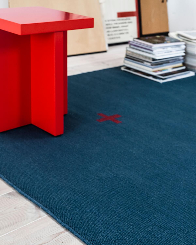 Close-up of a Blue Plus rug.
