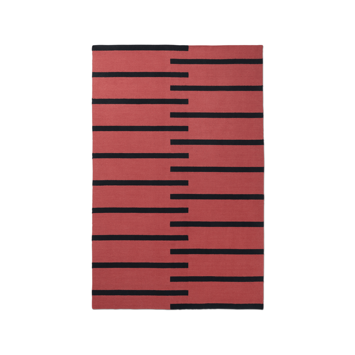 Product image of the flatweave rug Tiger in the color Red. The rug has thick, graphic black lines as a pattern.