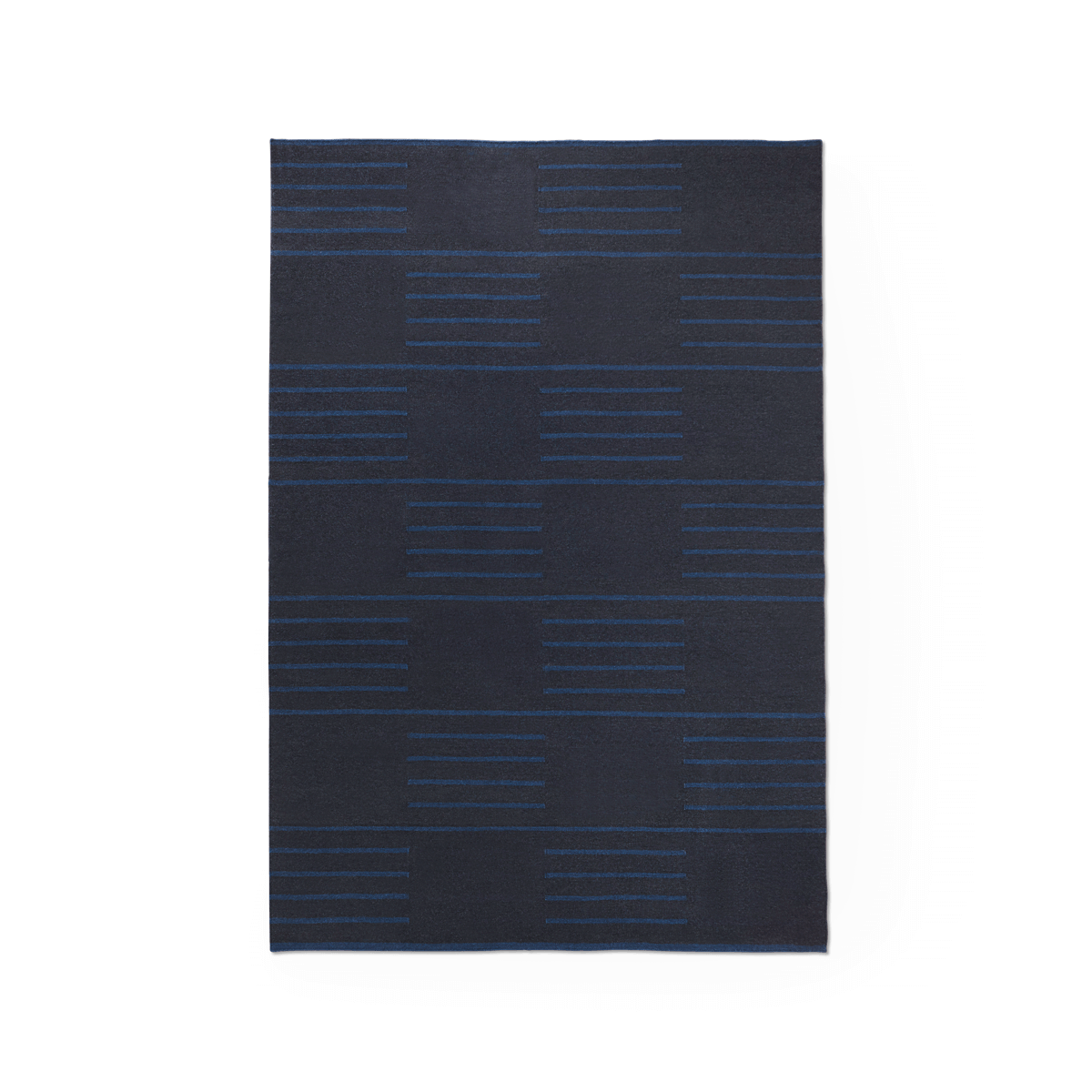 Product image of the flatweave rug Classic in the color Black. On it is a pattern made out of stripes in a checkerboard fashion in a blue color.