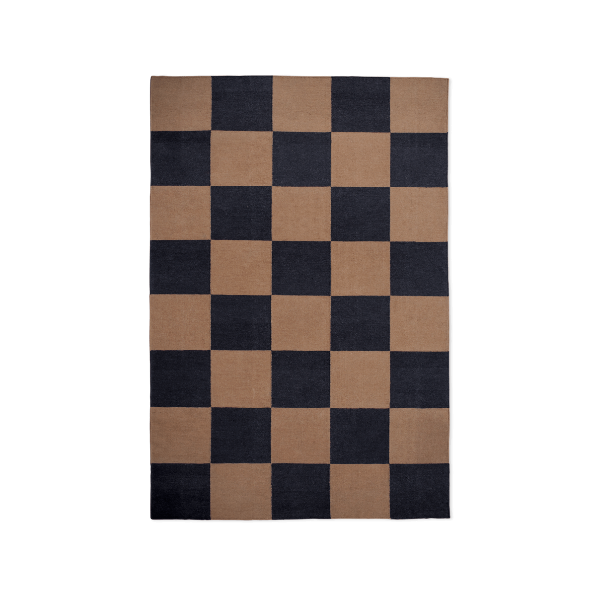 Product image of the flatweave rug Square in the color Tobacco. The rug has a check pattern in the colors sage tobacco brown and black.