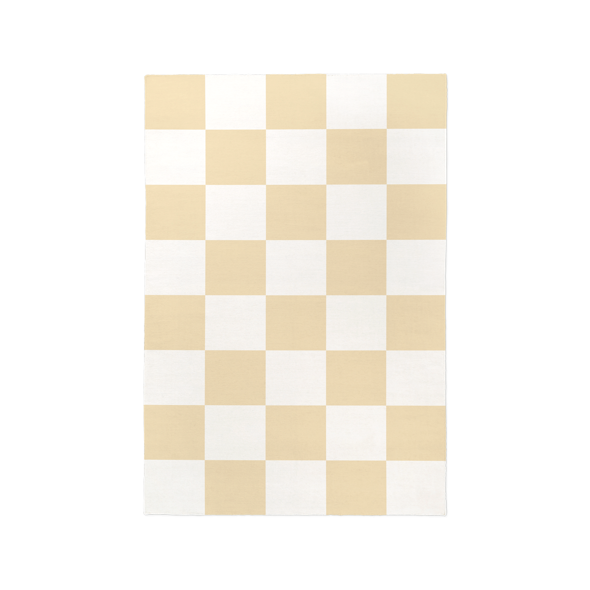Product image of the flatweave rug Square in the color Yellow. The rug has a check pattern in the colors yellow and cream.