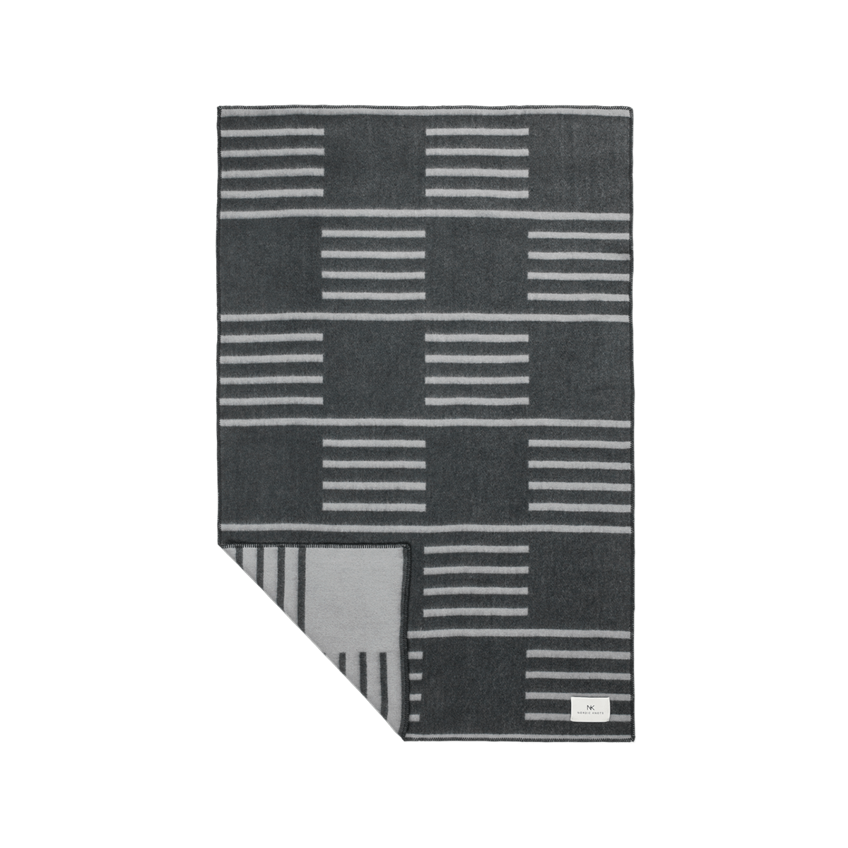 Product image of the wool blanket Classic in Steel Blue with a light gray, striped pattern.