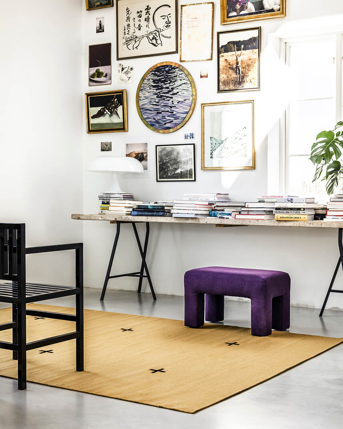 Plus in the color Mustard in light room with a desk.
