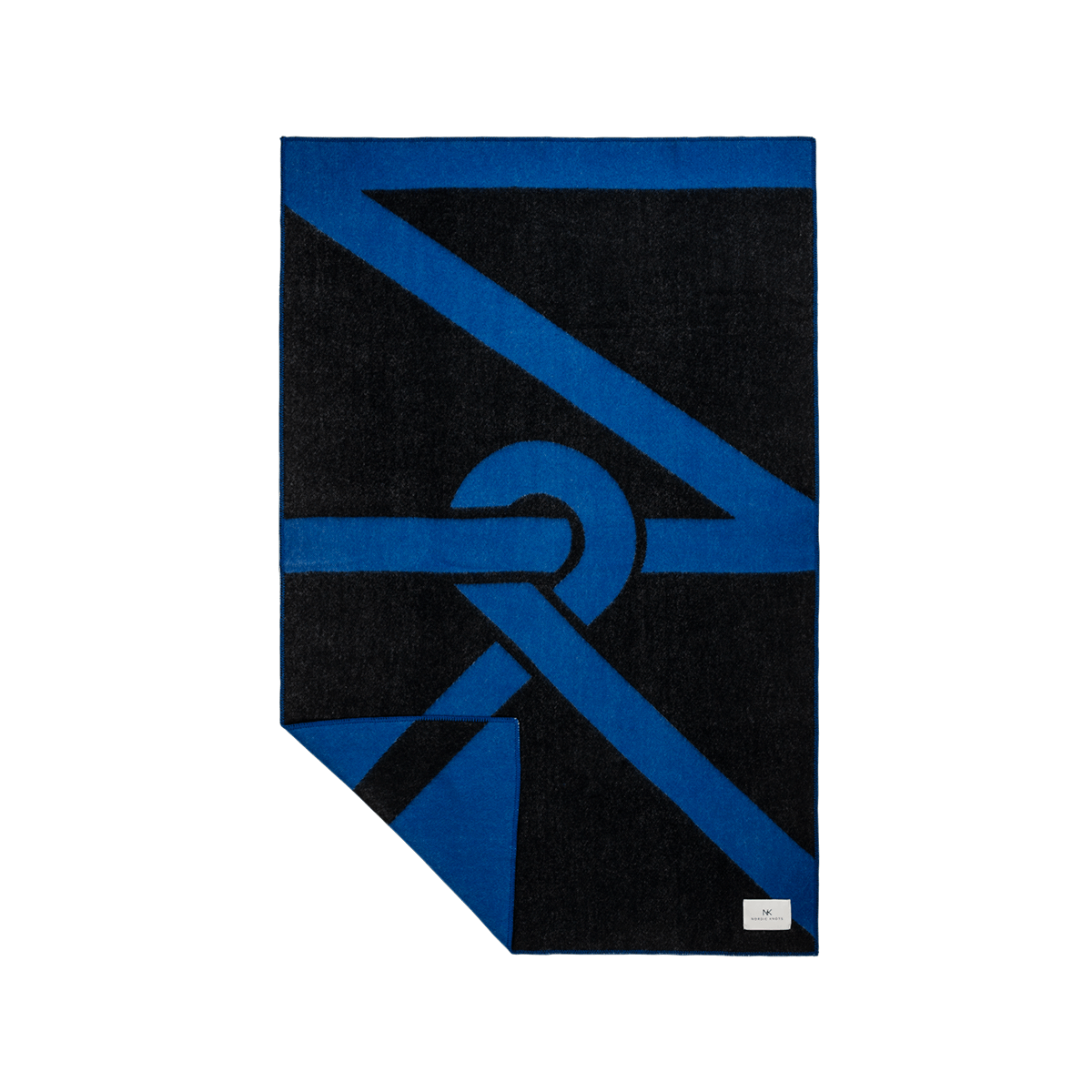 Product image of wool blanket NK, a bright blue blanket with the Nordic Knots logo as a pattern in black.
