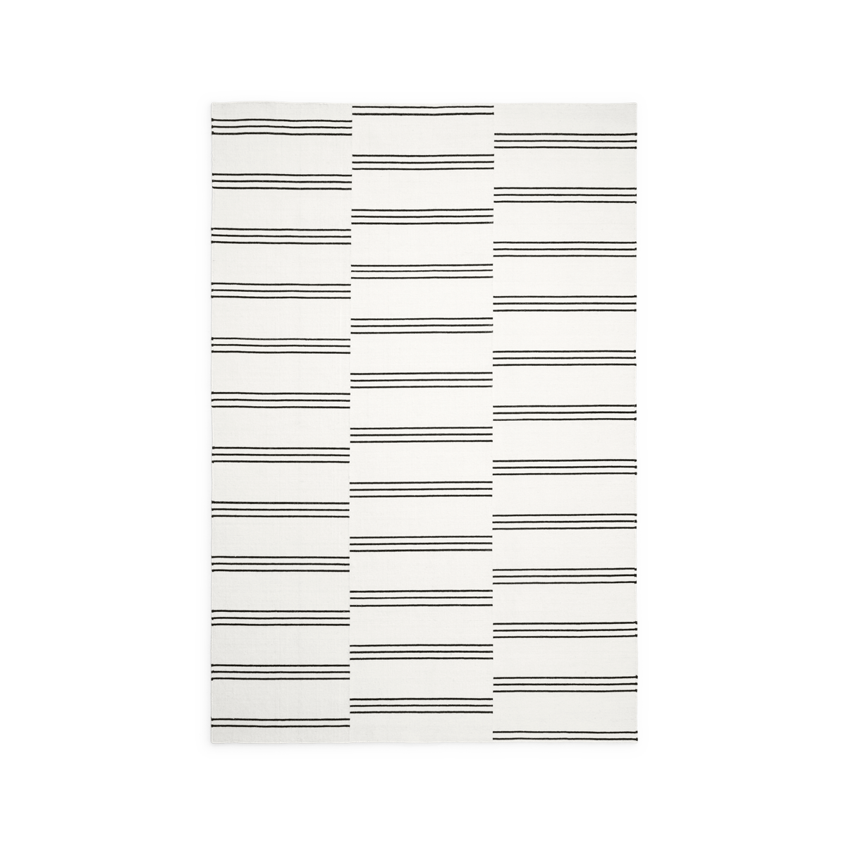 Product image of the flatweave rug Stripes in the colors Cream and Black. The rug has a pattern made from stripes in three rows in a black color.