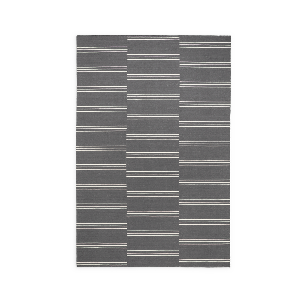 Product image of the flatweave rug Stripes in the colors Gray and Cream. The rug has a pattern made from stripes in three rows in a cream color.