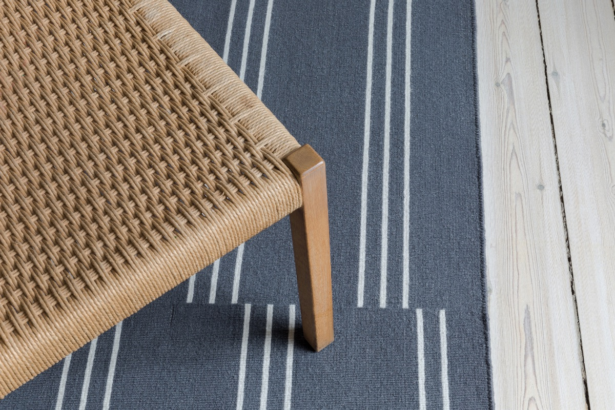 Close up of Stripes rug in color Gray.