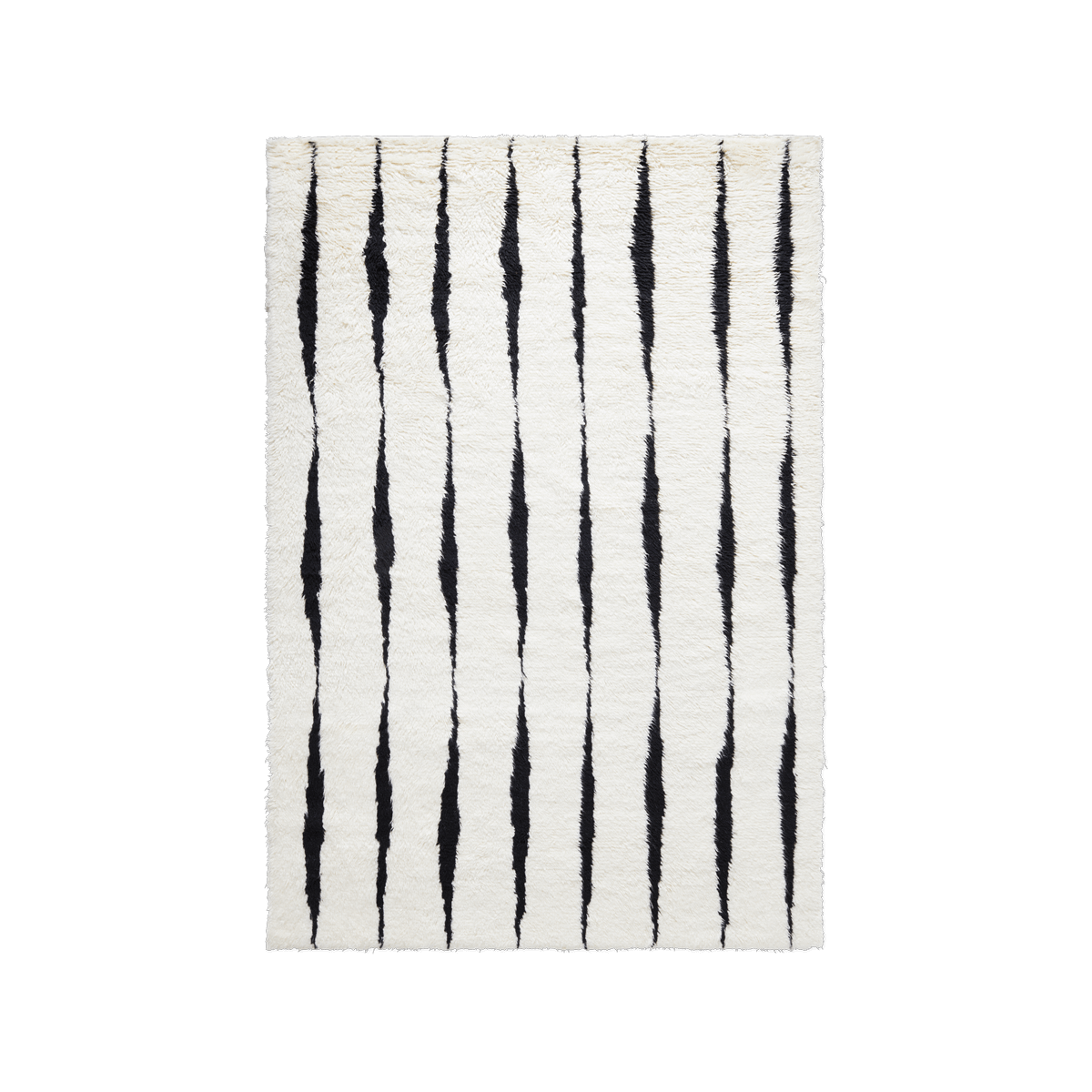 Product image of the shaggy rug Fjord in the color Cream and Black. It has has linear pattern from short side to short side in black.