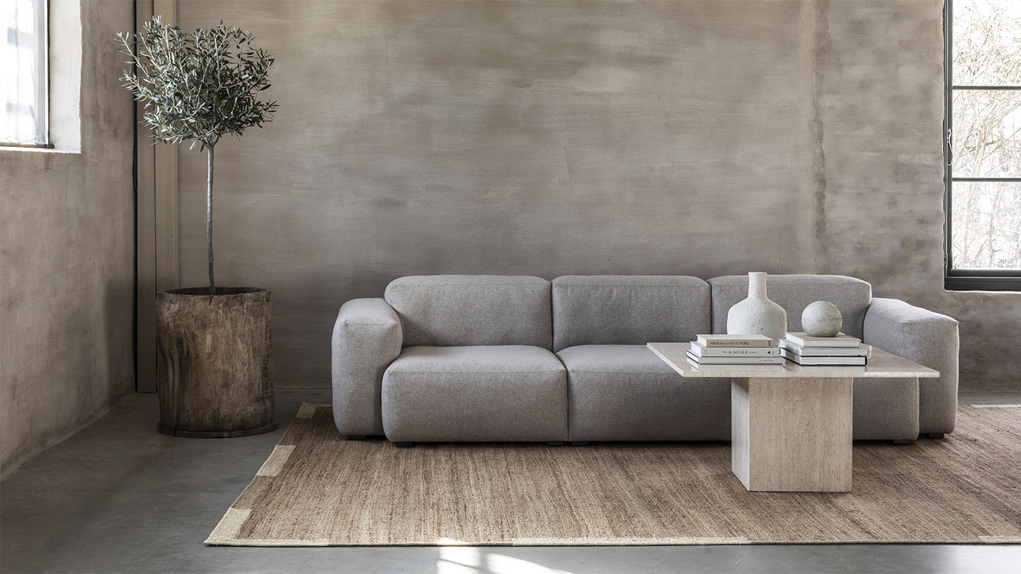 The Jute Edge rug in Cream in a beautiful contemporary living room.