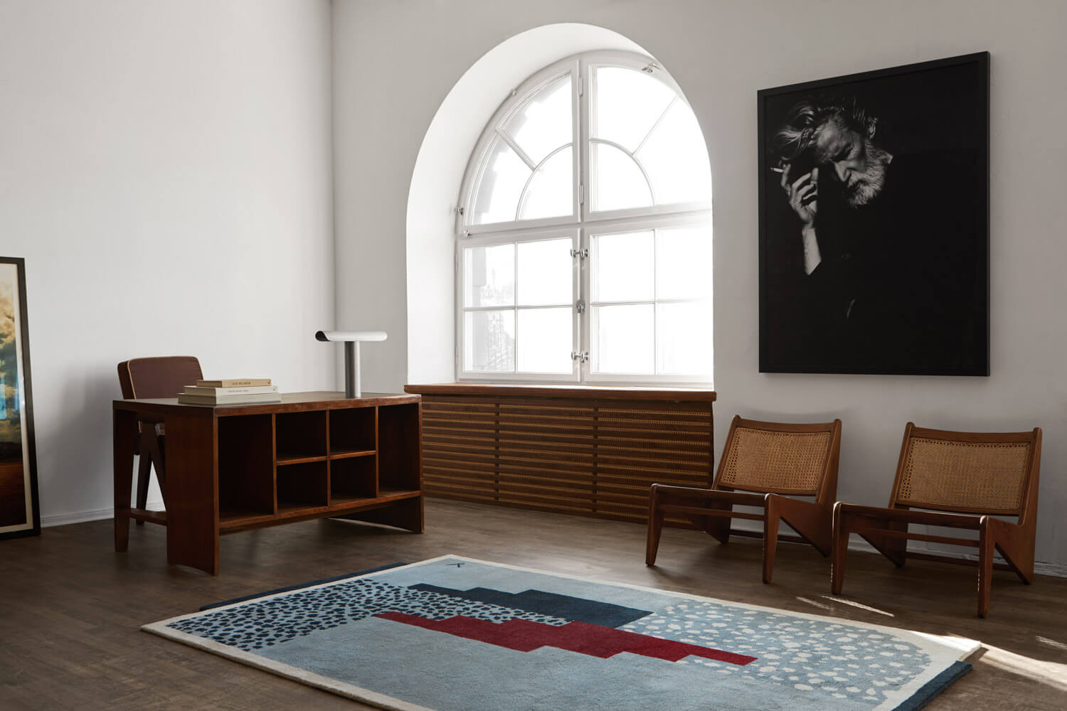 Art Deco Blue Rug in a beautiful studio office with antique furniture.