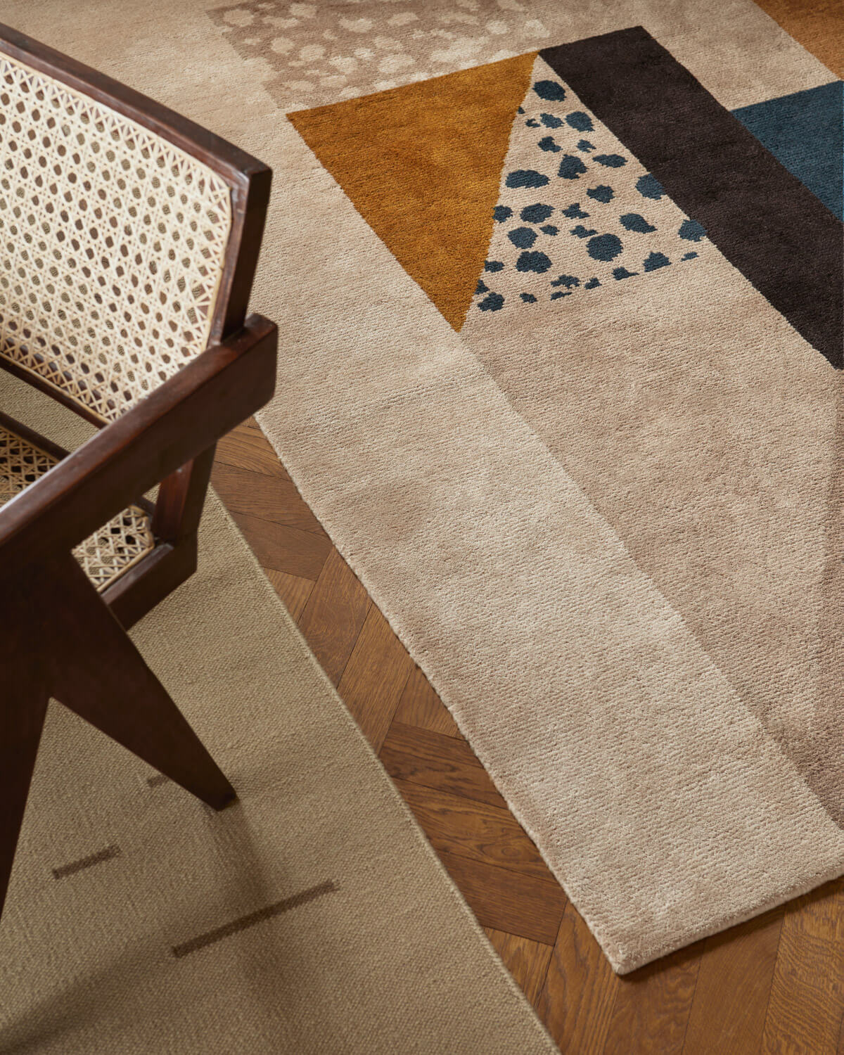 Close up of the Art Deco rug in Brown.