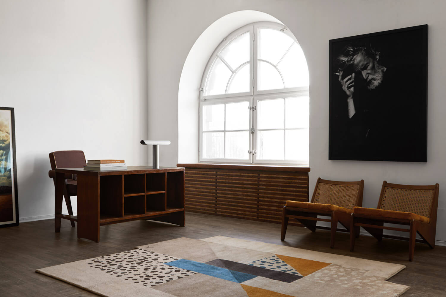 Art Deco Brown Rug in a beautiful studio office with antique furniture.