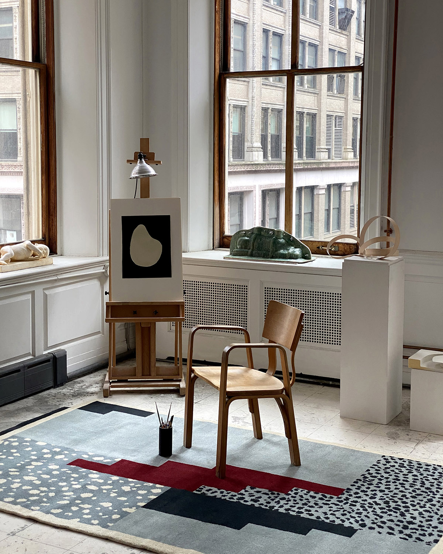 Art Deco Blue in a New York Artists loft apartment.