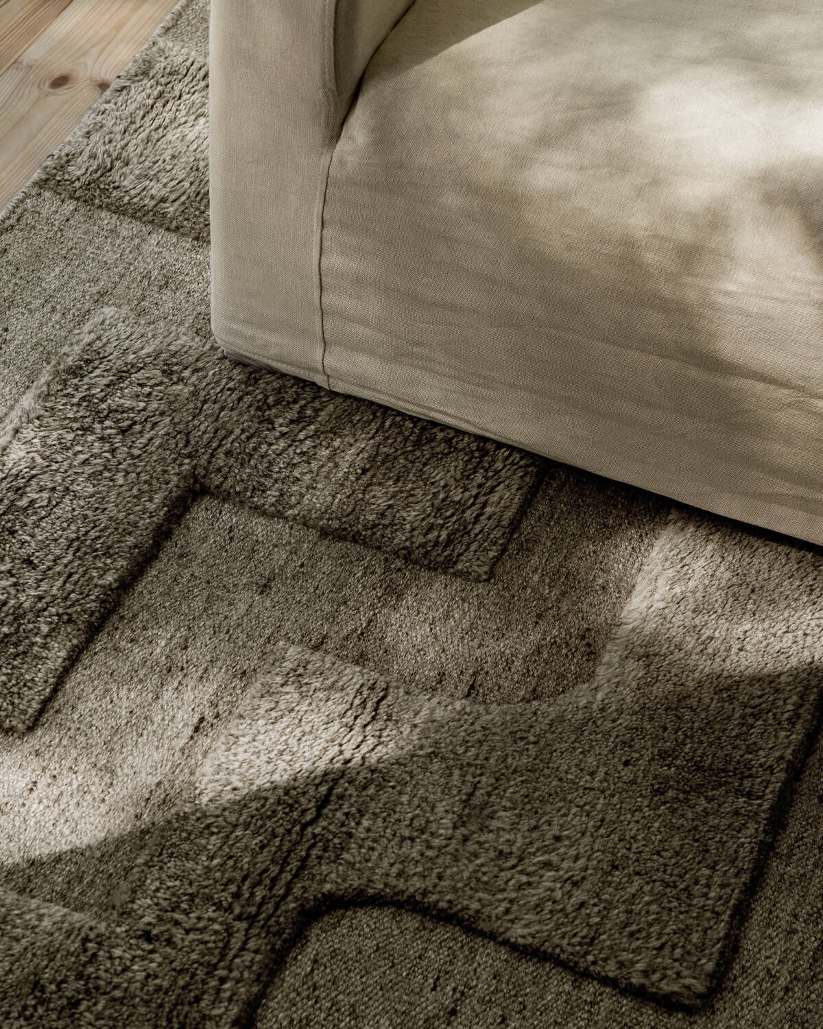 Close up of the Boho Wool Rug in Gray