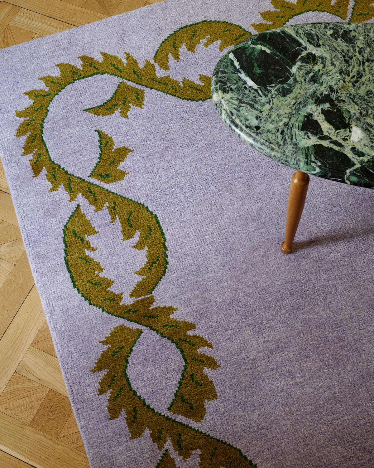 Climbing Vine rug up close in a beautiful palace
