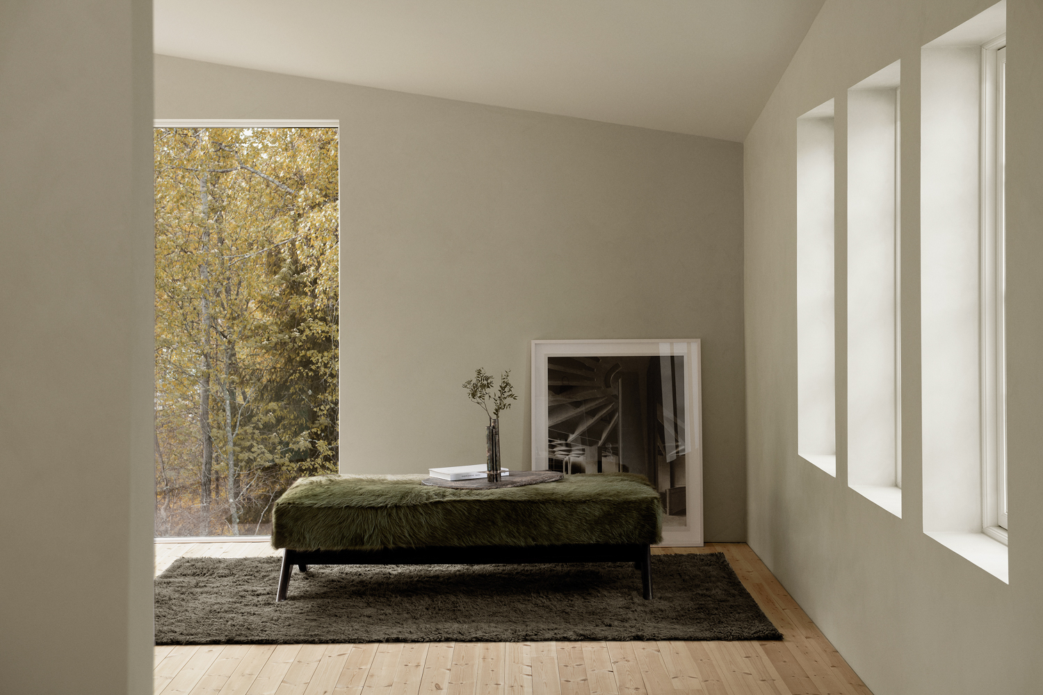 Fields Anthracite shaggy wool rug in a house in the woods