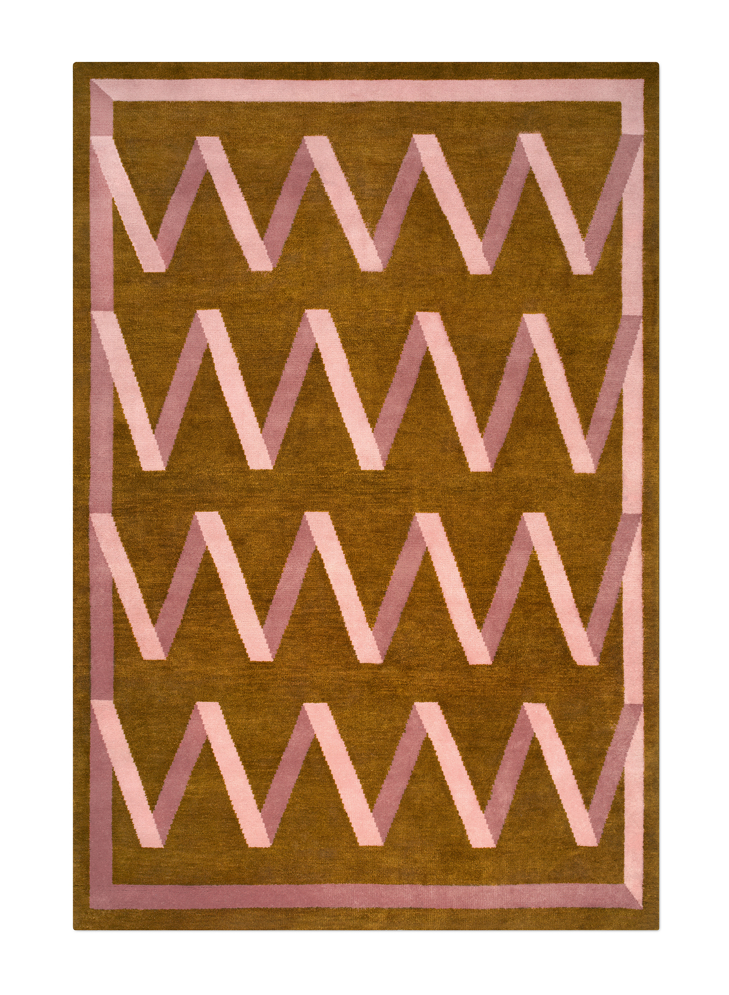 Folding Ribbon hand knotted wool rug.