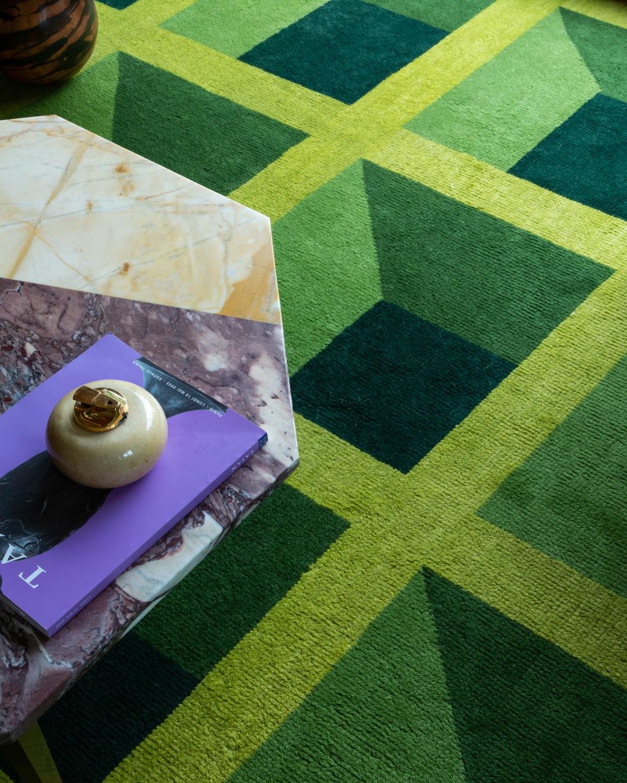 Close up of plush rug Garden Maze.