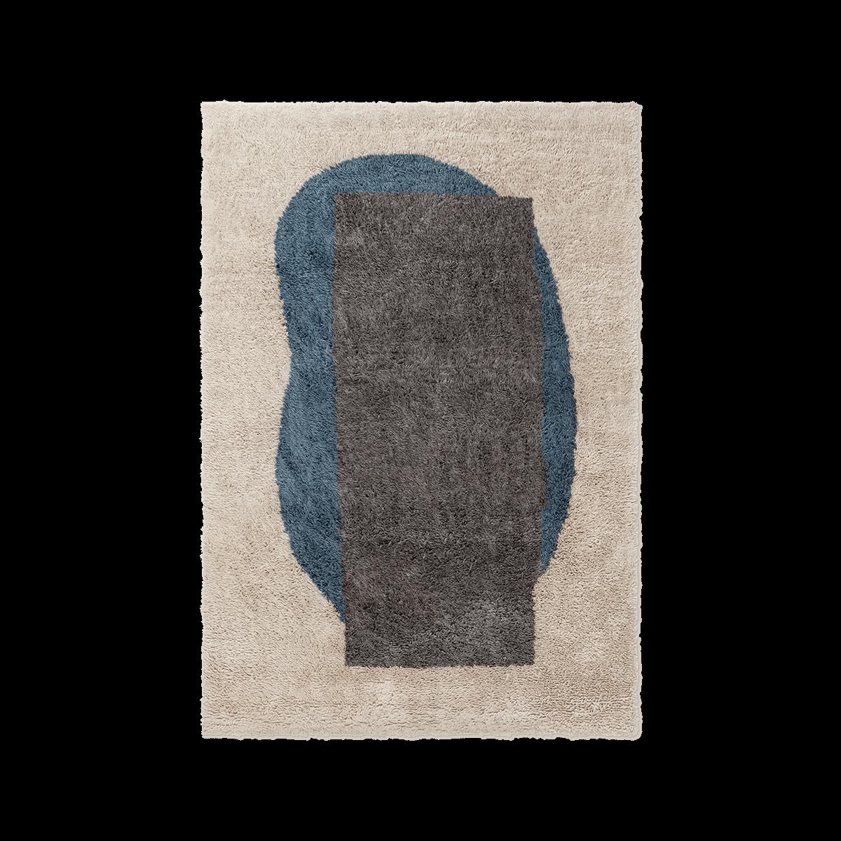 Monolith 02 Sand, Antrachite, Teal, wool rug